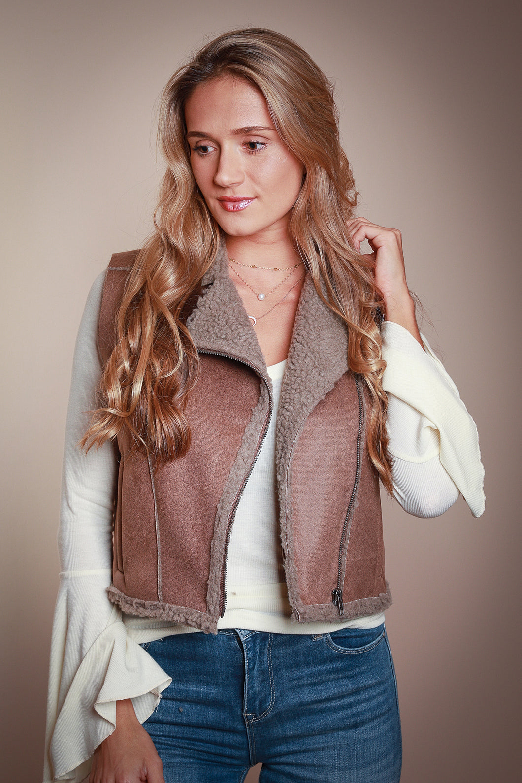 Brown Faux Suede Vest