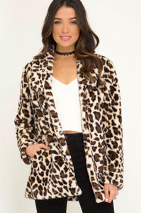 Cream oversized leopard jacket
