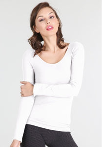 White long sleeve jersey top
