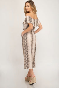 Snake Skin Off the Shoulder Jumpsuit