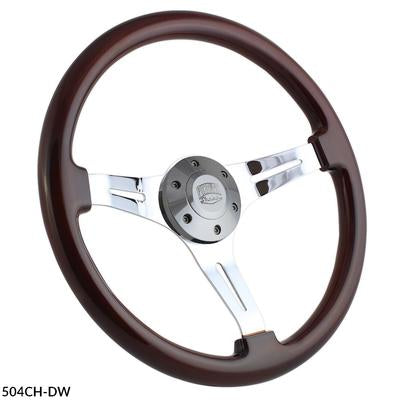 Forever Sharp Classic Chrome Steering Wheel - Dark Wood