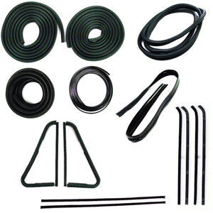 Precision Complete Weatherstrip Kit - 64-66 With Chrome Windshield Trim