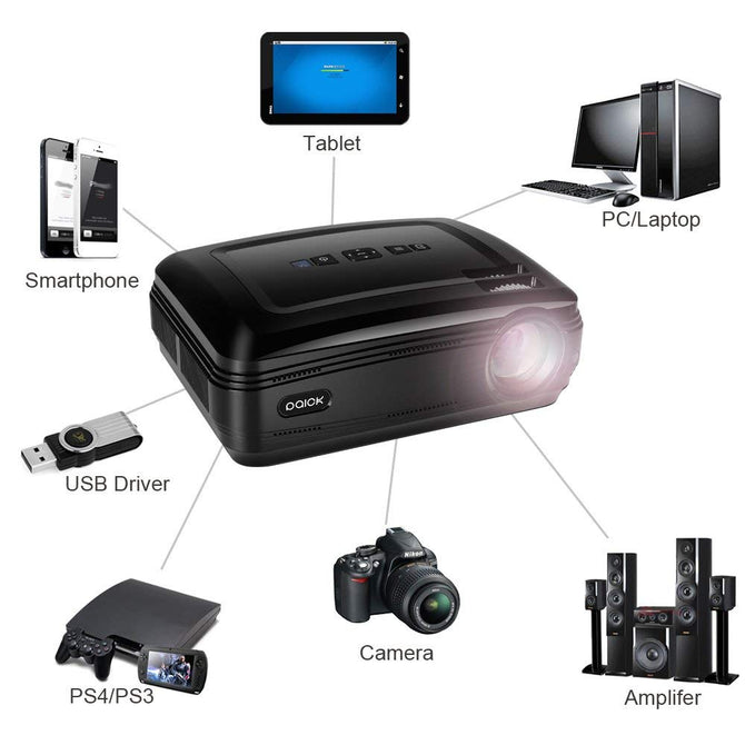 Projector Paick LED Video Projector +20% Brighter Lumens for Big Screen Home Multimedia Theater Projector Support 1080p HDMI VGA AV USB Computer Laptop TV Movie World Cup Games