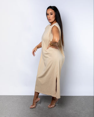 On the Go Padded Shoulder T-Shirt Dress