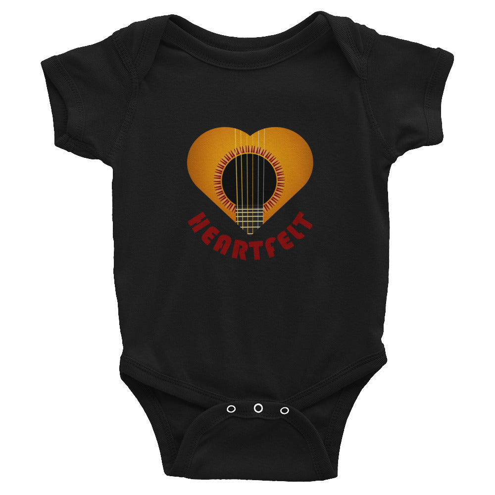 Infant Bodysuit with guitar branding. Heartfelt love for Guitar lover baby - guitarlic.com