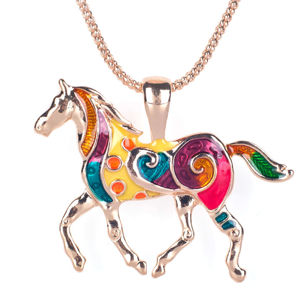 Collier cheval multicolore doré