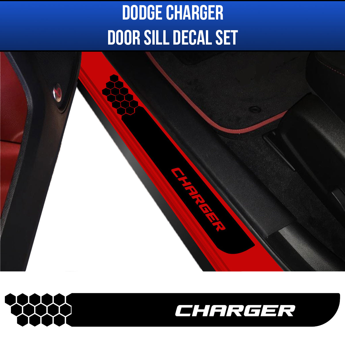 2006-2019 Dodge Charger Door Sill Guard Decal Kit (black