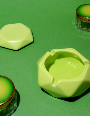 Polygonal Lidded Ashtray in Jackfruit Green