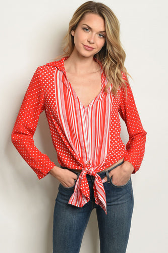 Red and White Stripe and Polka Dot Tie Front Top