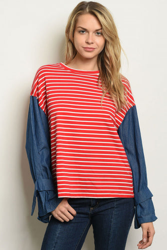 Red and Ivory Stripe Top with Denim Sleeves