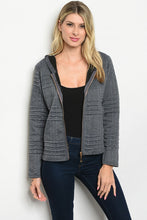 Gray Textured Hooded Jacket