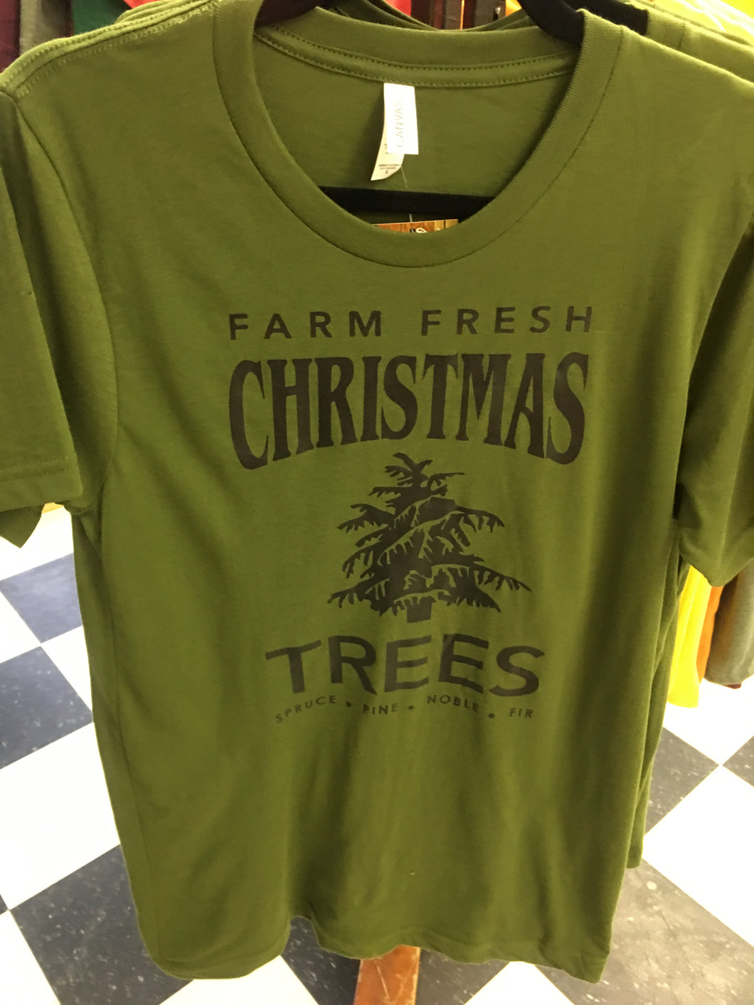 Olive Christmas Tree Graphic Tee