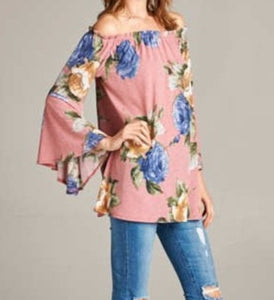 Off-the-Shoulder Floral Tunic