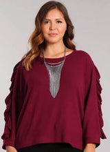 Slouchy Sweater Top with Ruffle Sleeve Detail