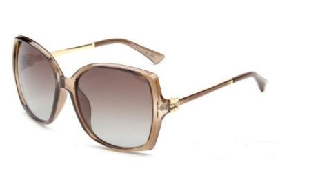 Clear Tan Square Edge Polarized Sunglasses