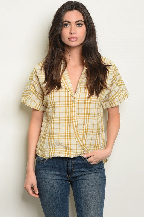 Mustard and White Plaid Boyfriend Shirt