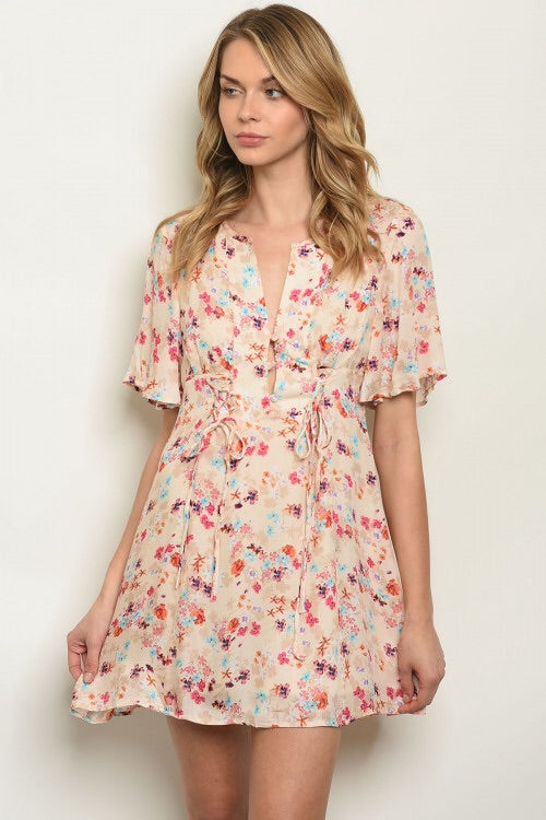 Taupe Flutter Sleeve Floral Dress