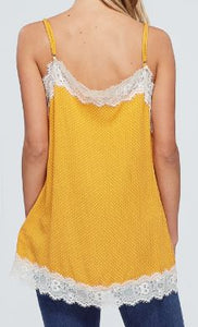 Mustard Polka Dot Spaghetti Strap Top with Lace Trim