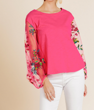 Sheer Floral Sleeve Top