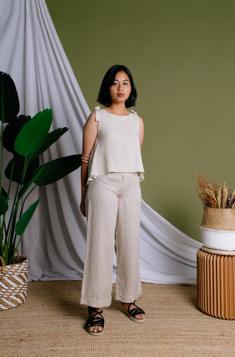Johanna Wide Leg Pants - Oatmeal - The Soleil Girl