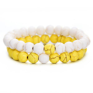 (COUPLE DISTANCE) 2PCS Bracelet Classic Natural Stone Different Colors