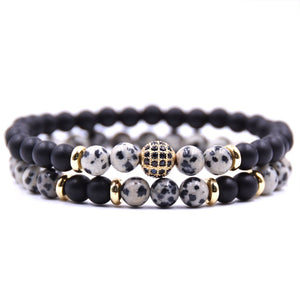 (DISCO BALL) 2pc/sets Natural stone Bracelet men Micro Pave CZ 8mm Disco Ball Charms Bracelets