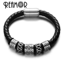 Load image into Gallery viewer, (GENUINE LEATHER) Men Leather Bracelet 316l Stainless steel Viking Bead Bracelets with Strong Magnet Clasp 17-21cm