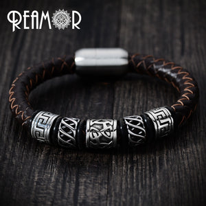 (GENUINE LEATHER) Men Leather Bracelet 316l Stainless steel Viking Bead Bracelets with Strong Magnet Clasp 17-21cm