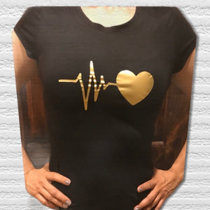 (HEART BEATS) woman T-shirt 100% cotton