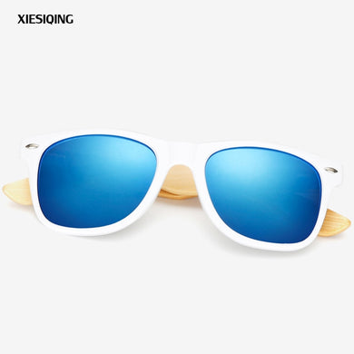 (BAMBOO WOODEN SUNGLASSES)  White Frame eyewear With Coating Mirrored UV 400 Protection Lenses
