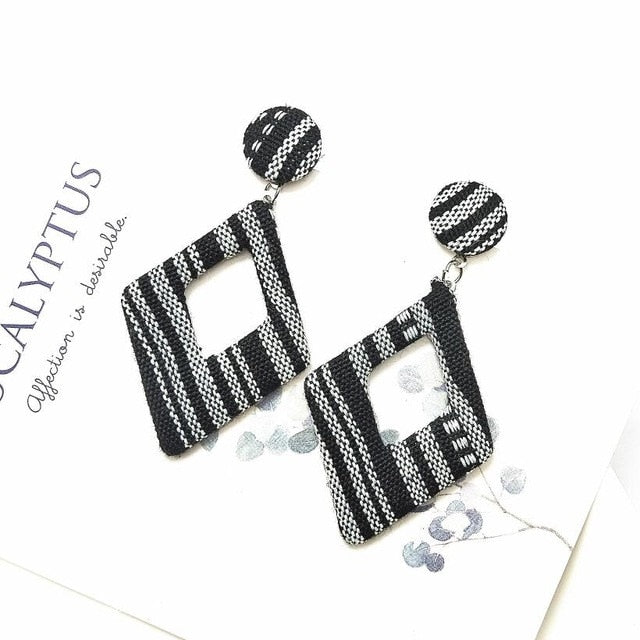 (JERGA EARRINGS) For Women Fashion Handmade Square Geometric Earrings 2019 Statement Drop Earrings