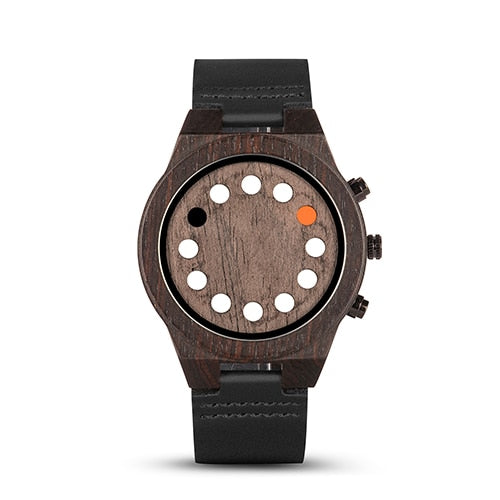 (WOOD WATCH LUMINOUS) 12 Holes Timer Design Sports Casual Watches Great Men's Gifts