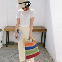 Load image into Gallery viewer, (WOVEN BAG) Large Capacity Hand Woven Bag Straw Bag Woman Horizontal Stripes Beach Bag Sac à bandoulière femme