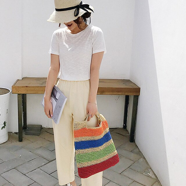 (WOVEN BAG) Large Capacity Hand Woven Bag Straw Bag Woman Horizontal Stripes Beach Bag Sac à bandoulière femme