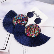 Load image into Gallery viewer, (CRYSTAL FRINGES EARRINGS) Black White Red Silk Fabric Drop Dangle Statement Earrings For Women Jewelry