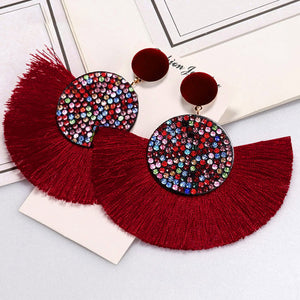 (CRYSTAL FRINGES EARRINGS) Black White Red Silk Fabric Drop Dangle Statement Earrings For Women Jewelry