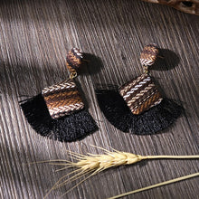 Load image into Gallery viewer, (JERGA FRINGES EARRINGS) Statement Earrings Striped Long Fringe Earrings Girl Birthday Jewelry Gift