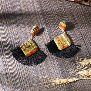 (JERGA FRINGES EARRINGS) Statement Earrings Striped Long Fringe Earrings Girl Birthday Jewelry Gift