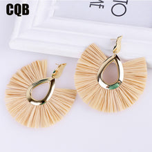 Load image into Gallery viewer, (TURKEY EARRINGS) boho accessories handmade jewelry long earring korean fashion bohemian  yellow statement gold new