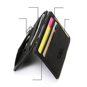 (UPSCALE WALLET)  Upgrade Ultra Thin Mini Wallet Men Women Business PU Leather Magic Small Wallets Coin Purse Credit Card Holder Wallets