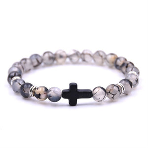 (NATURAL STONE CROSS)  Bracelet Hand Work Black Onyx Volcano Matte Beaded Bracelets Pulseiras
