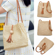 Load image into Gallery viewer, (BALL CLIP BAG)  Handbag Shopping Straw Storage Bags Shoulder Handbag Bohemia Beach Travel Tote Bags Natural Simple Bags