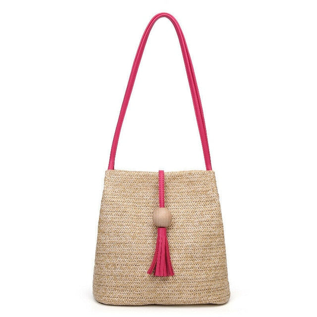 (BALL CLIP BAG)  Handbag Shopping Straw Storage Bags Shoulder Handbag Bohemia Beach Travel Tote Bags Natural Simple Bags