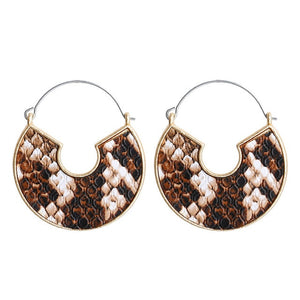 (LEATHER EARRINGS) 5 color Geometric Snake Leopard Drop Earrings Female Round Dangle Earring Fashion Jewelry