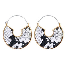 Load image into Gallery viewer, (LEATHER EARRINGS) 5 color Geometric Snake Leopard Drop Earrings Female Round Dangle Earring Fashion Jewelry