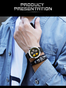 (WHEEL WATCH) Hot Sell Trend Men Watch Fashion Rotating Dial Wheel Watches Waterproof Magnet Buckle Quartz Movement Gift Watch 1022