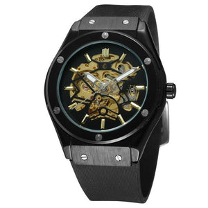 (MILITARY SPORT WATCH) Auto Mechanical Watch Men Rubber Strap Skeleton Mens Watches Top Brand Luxury HIP HOP Punk Clock