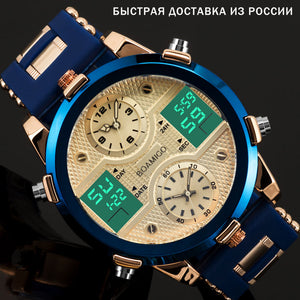 (QUARTZ LED)  Brand Men Sports Watches Men's Quartz LED Digital 3 Clock man Male Wrist Watch relogio masculino