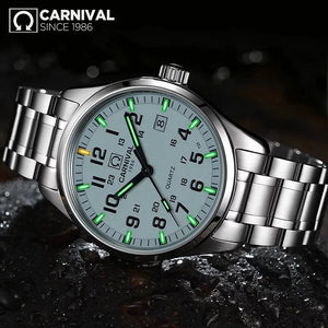 (CARNIVAL T25 ) Luminous Watch Men Military Mens Watches Top Brand Luxury Quartz Wristwatch Male Clock Reloj Hombre 2019
