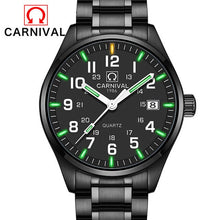 Load image into Gallery viewer, (CARNIVAL T25 ) Luminous Watch Men Military Mens Watches Top Brand Luxury Quartz Wristwatch Male Clock Reloj Hombre 2019